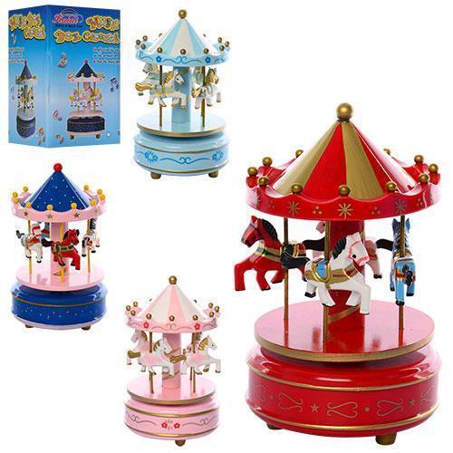 Деревянная игрушка Карусель MD 1120 18см заводная муз 4цвета в кор-ке 11 5-11 5-18см