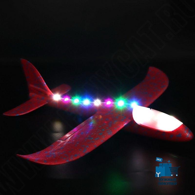 Метальний Літак - Планер 48 см, світиться кабіна + світлодіоди по борту, малиновий