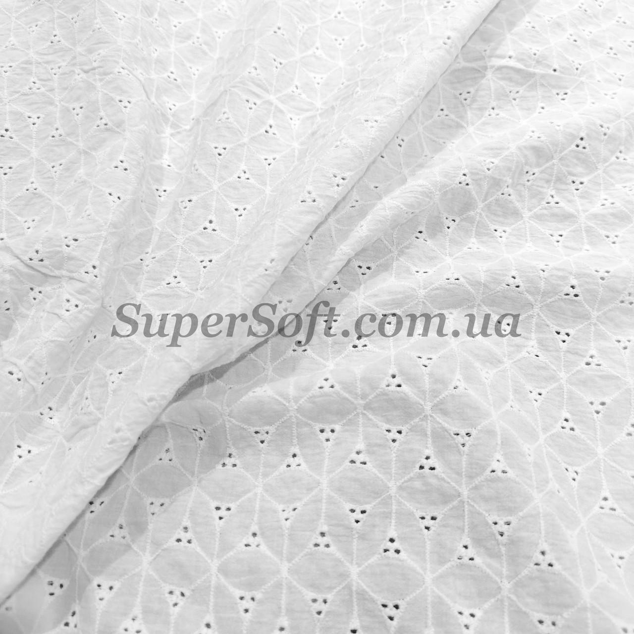 """Ткань батист с вышивкой """"прошва"""" белый А-1"""