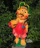 Садовая фигура из полистоуна Гном Девочка с корзинкой 52 см