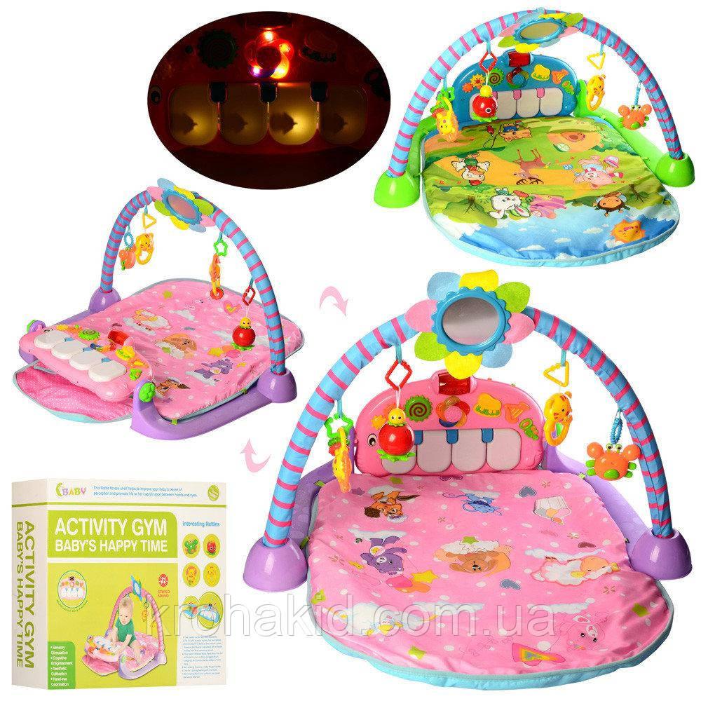 Развивающий большой коврик для младенца с пианино 518B-5-6, голубой, розовый - пианино, дуга, подвески