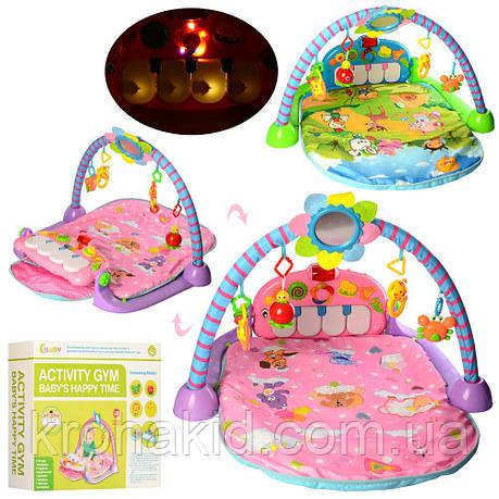 Развивающий большой коврик для младенца с пианино 518B-5-6, голубой, розовый - пианино, дуга, подвески, фото 2