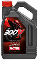Масло моторное для мотоциклов синтетическое MOTUL 300V 4T FACTORY LINE ROAD RACING SAE 15W50 (4L) 104129