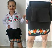 """Юбка для девочки """"Баска с вышивкой"""" ,рост :122-128-134-140 и размеры подросток 38-40-42-44код 0502-5, фото 4"""