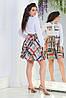 Весенний женский костюм с оригинальным принтом: белая рубашка и расклешенная юбка, норма и батал, фото 4