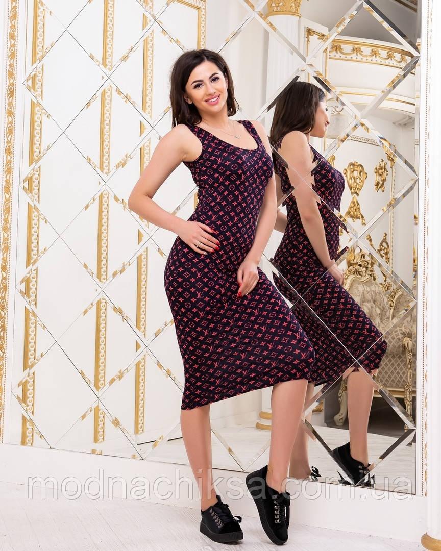 Трикотажное платье-майка миди