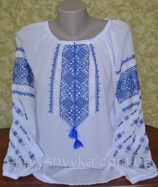 """Вишиванка """"Карла"""" синій орнамент"""