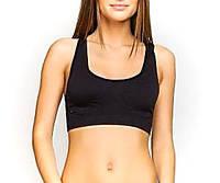 Бесшовный женский топик черный GreeNice, с поддержкой. Спортивный топ в розницу и оптом.