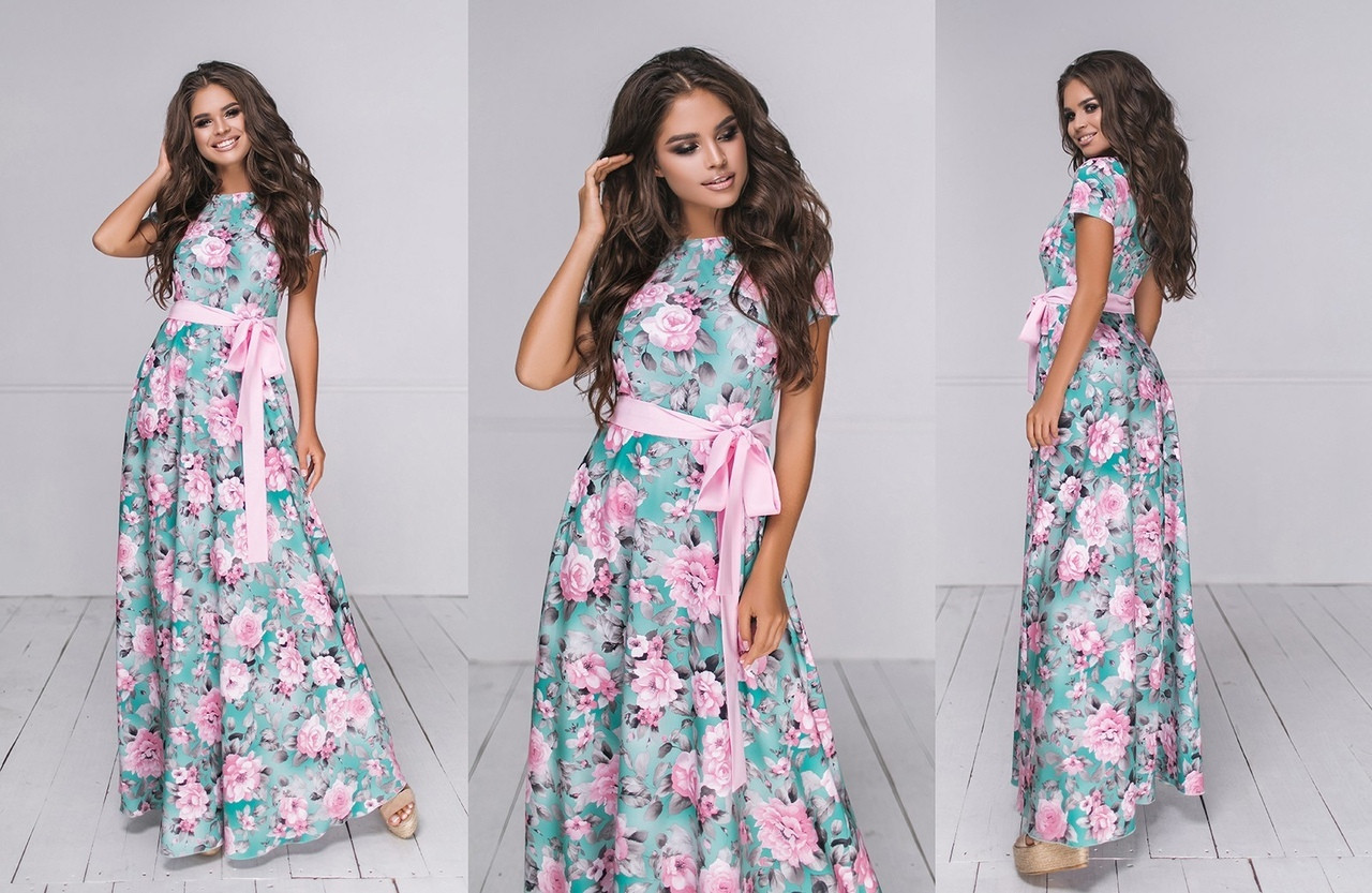 Платье длинное летнее женское цветочний принт