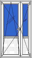 Дверь входная металлопласт 2-х ств WinOpen (1,2ширх2,1выс),фурнитура Vorne, доводчик
