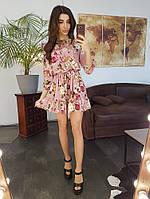 ad05e810fbf Платье в цветочный принт с оборкой по низу и крылышками на плечах