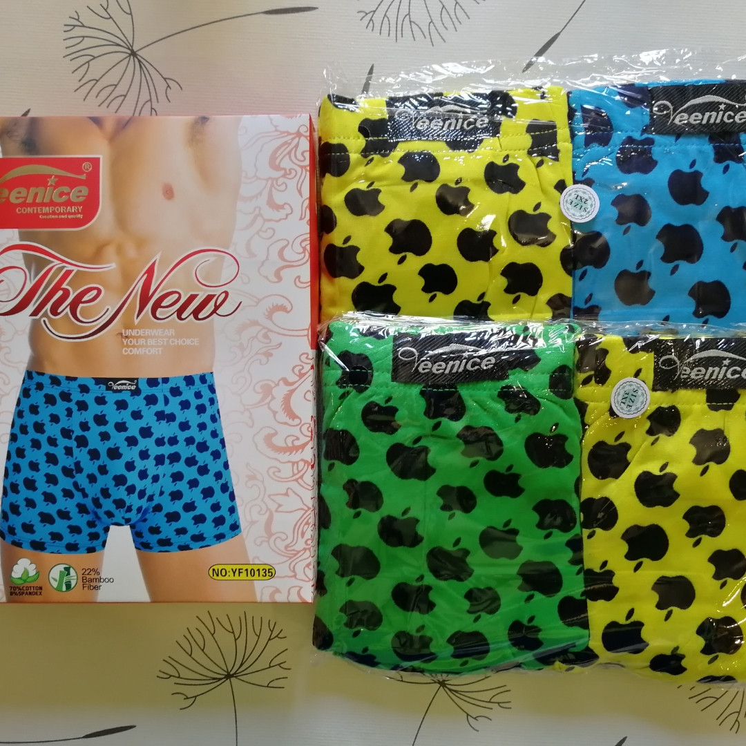 Мужские трусы-шорты / боксеры Apple тм Veenice яркие, жёлтые, голубые, зелёные трусы