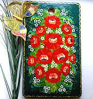 Доска кухонная из дерева бук большая 41*26 см разделочная ручной росписи, полезный подарок для кухни женщине