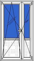 Дверь входная металлопласт 2-х ств Brokelman (1,2ширх2,1выс), фурнитура Vorne, доводчик