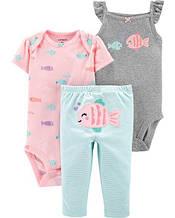 Комплект тройка Картерс Carter's для девочки серый, розовый, голубой 12М ( 72-78 см)