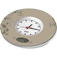 Весы кухонные с часами 3 кг Mystery  MES-1813