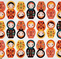 Ткань с матрешками, Оранжевый, Желтый, хлопковая дизайнерская ткань для пэчворка и рукоделия. PL-3