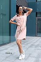 Пудровое женское платье на пуговицах