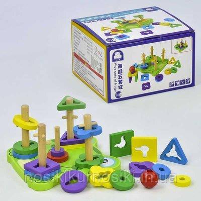Дерев'яна іграшка піраміда ключик, піраміда сортер C 31460