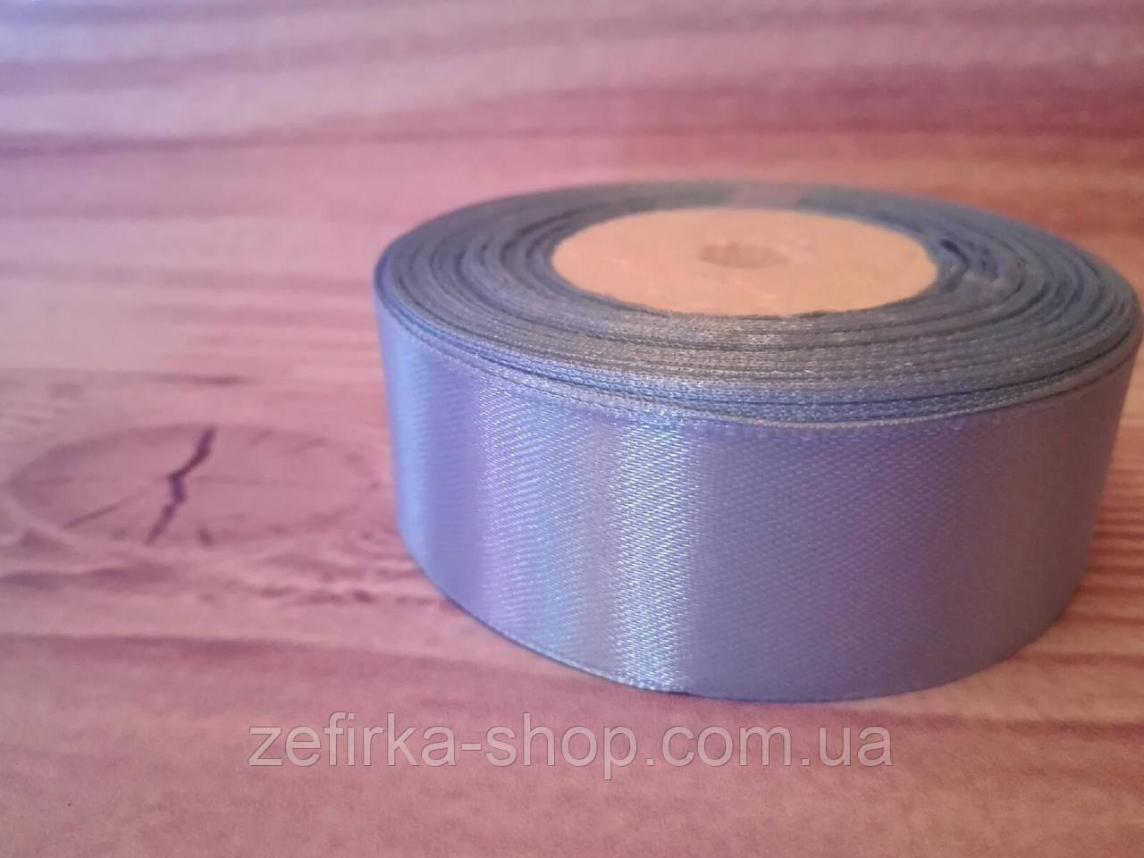 Атласная лента,  2,5 cм голубой