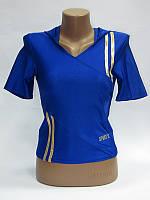 Укороченная спортивная женская футболка с капюшоном