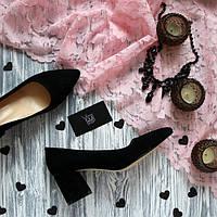 Женские туфли с заостренным носком на невысоком каблуке Натуральная замша