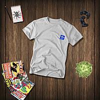 Мужская серая футболка, чоловіча футболка Adidas (синий лого), Реплика