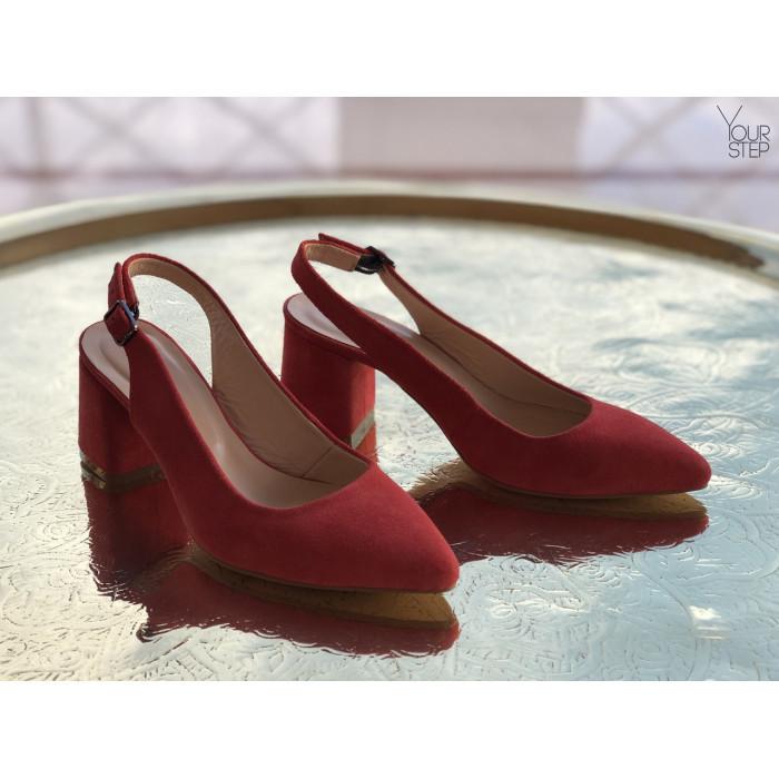 Женские замшевые туфли  с открытой пяткой Возможен отшив в других цветах замши и кожи