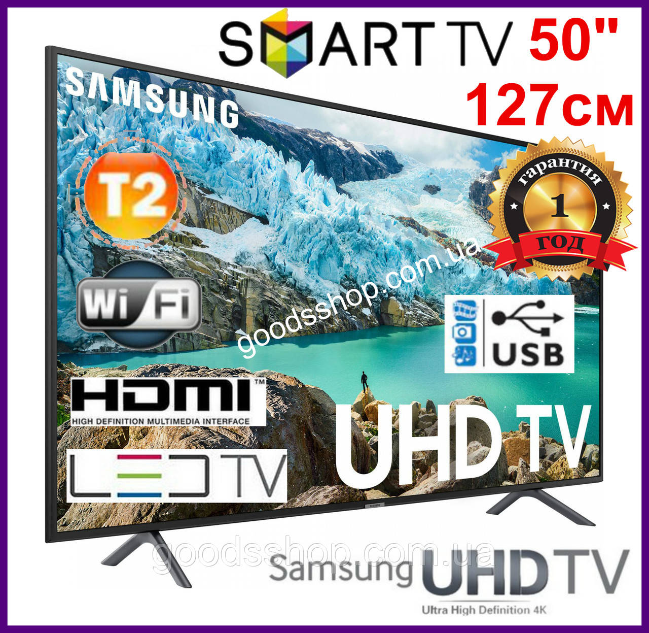 Телевизор Samsung Самсунг 50 дюймов (127см) 4K Ultra HD Smart TV UE50NU7100  Т2 WiFi LED Телевізор 2018 (A)