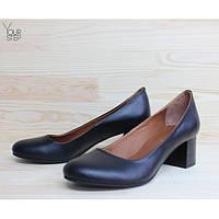 Женские кожаные туфли на невысоком каблуке. Возможен отшив в других цветах кожи и замши, фото 1