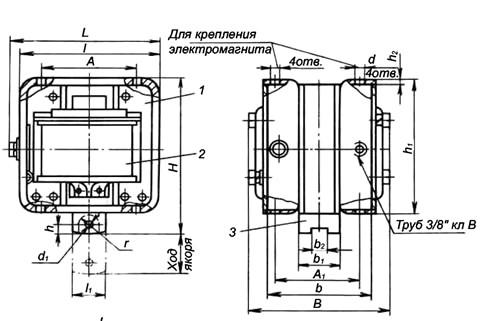Габаритные размеры электромагнита МИС-4100