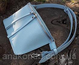 466-2 Натуральная кожа, Сумка на пояс женская кожаная голубая светлая голубая Сумка бананка женская кожаная, фото 3