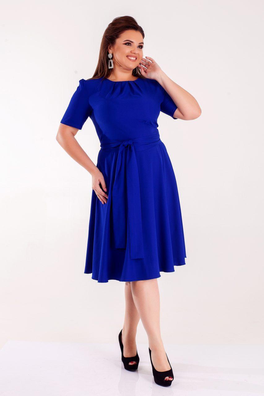 Летнее платье из костюмки темно-синее с поясом 8311