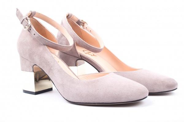 Туфли женские на каблуке из натуральной замши, серые Aquamarin Турция