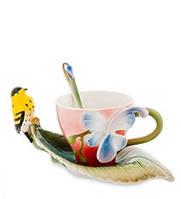 Фарфоровая чайная пара Иволга и Орхидея (Pavone)