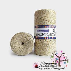 Пряжа Maccaroni Ribbon с глитером, 124, молочный