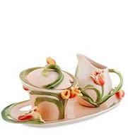 Фарфоровый набор молочник и сахарница Тюльпаны (Pavone)