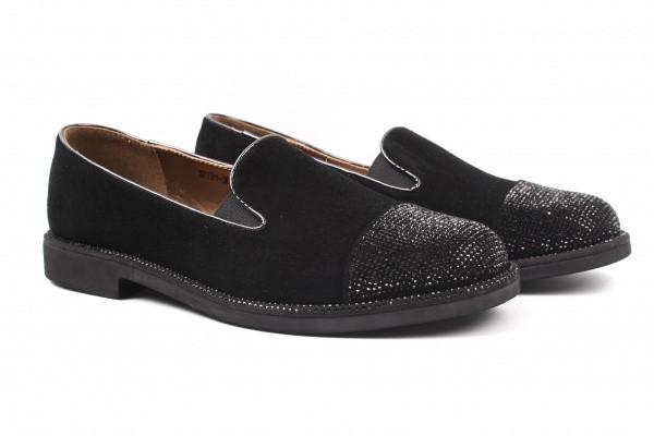 Туфли комфорт женские на низком ходу Reuchll натуральная замша, цвет черный
