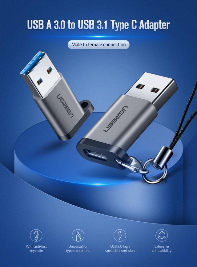 Переходник-адаптер USB 3.0 к Type-C Ugreen US276 50533 Темно-серый