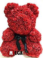 Мишка из роз Teddy Rose красный с бантом (40см) в коробке подарок