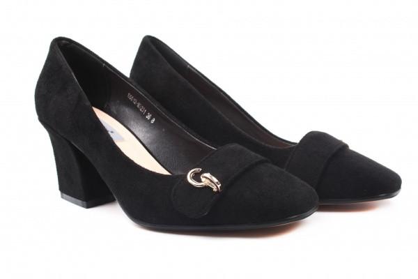 Туфли женские на каблуке Stefaniya Nina эко замш, цвет черный