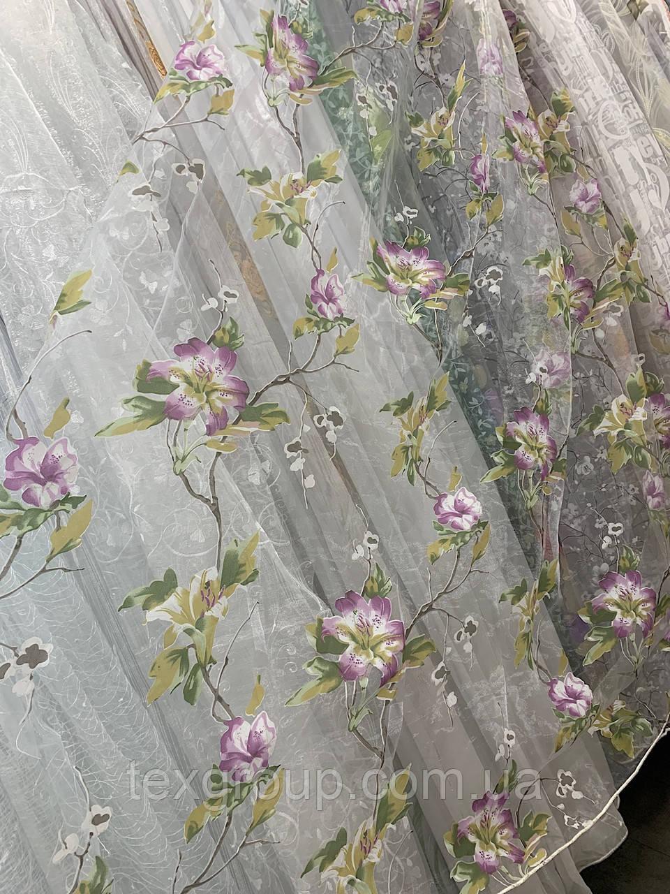 Тюль органза цветок 912