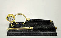 Мраморный письменный набор с часами, лупой и ножом для резки бумаги 1 ручка
