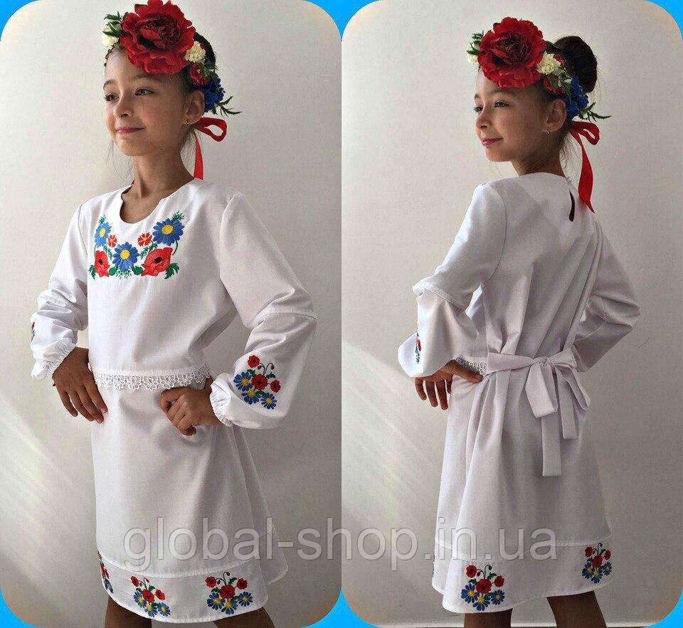 Платье вышиванка для девочки с цветами  , рост 122.128.134.140см, код 0639