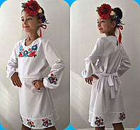 Платье вышиванка для девочки с цветами  , рост 122.128.134.140см, код 0639, фото 1