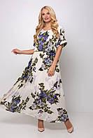 Женское нарядное длинное платье макси из шифона большого размера Р-р  54, 56, 58, 60