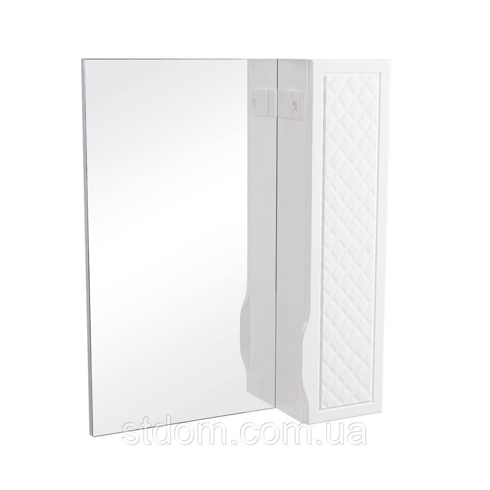 Зеркало с подсветкой и шкафчиком справа Аква Родос Родорс 65 белый