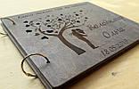 Весільна книга побажань з дерев'яними обкладинками, фото 4