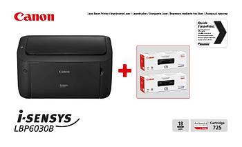 Принтер А4 Canon i-SENSYS LBP6030B (8468B042AA) + 2 картриджа Canon 725
