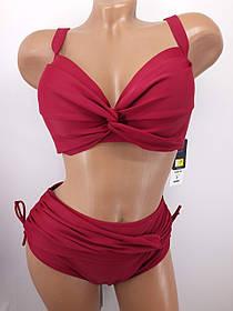 Бордовый купальник на большую грудь 3917 на 48 50 52 54 56 размер.